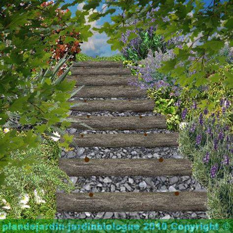 escalier en rondin de bois faire un escalier de jardin en rondins de bois