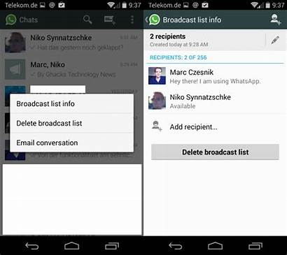 Broadcast Whatsapp Chat Lists Broadcasts Differ Ghacks