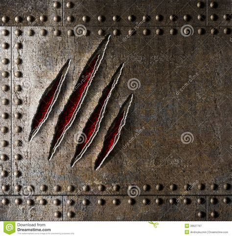 claw scratches  armor metal wall stock image image