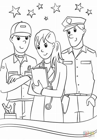 Helpers Coloring Community Pages Printable Clipart Drawing