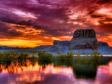 arizona sunset scenery lake rocky mountains orange clouds