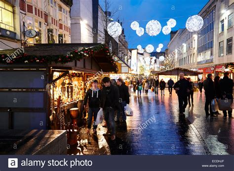 liverpool city centre xmas market and lights on christmas