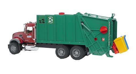 bruder garbage bruder 02812 mack granite garbage truck ruby red green
