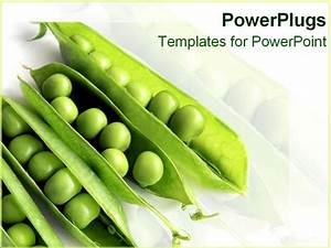 Powerpoint Template  Four Peas In Their Pods On A White Background  23204
