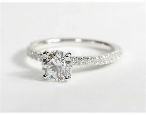 09 carat diamond petite pave diamond engagement ring for Tiny wedding ring