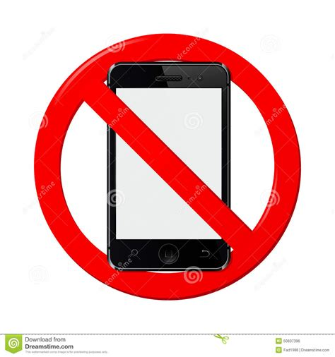 sign in mobile phone no mobile phone sign stock vector image 50637396