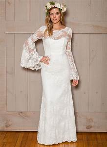 Breathtacking bell sleeve wedding dress youll want for for Bell sleeve wedding dress
