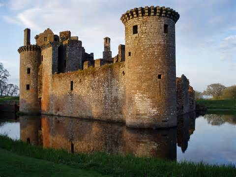 Medieval Castle with Moat and Drawbridge