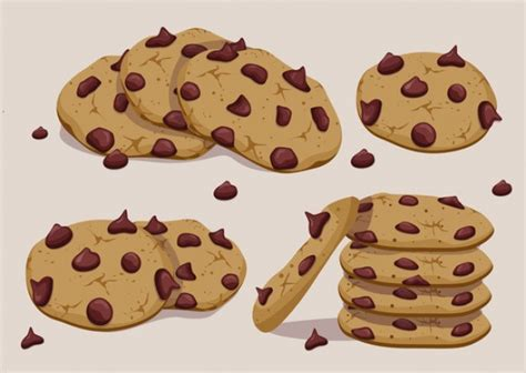 chip cookies clipart vector vector chocolate chip cookie set vector free Chocolate