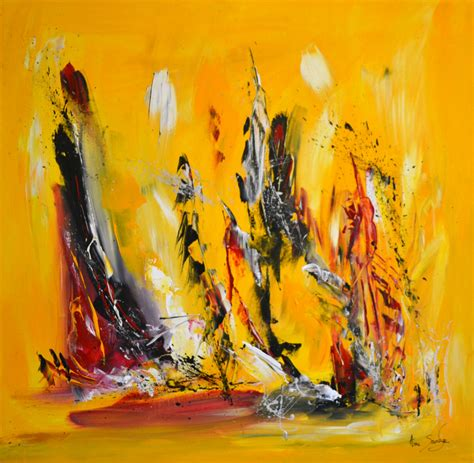 tableau abstrait contemporain jaune noir grand format