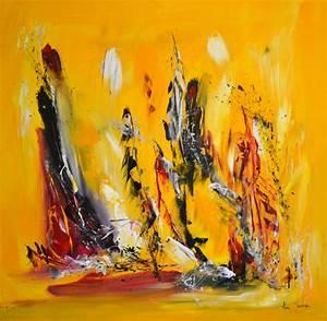 Tableau Contemporain Grand Format : tableau abstrait contemporain jaune noir rouge grand format ~ Teatrodelosmanantiales.com Idées de Décoration