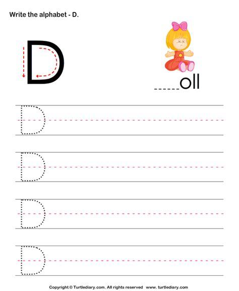 uppercase alphabet writing practice d worksheet turtle diary