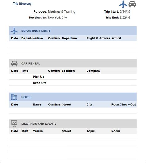 Travel Itinerary Template 33 Trip Itinerary Templates Pdf Doc Excel Free