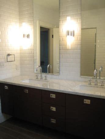 Beveled Subway Tile Backsplash  Contemporary Bathroom