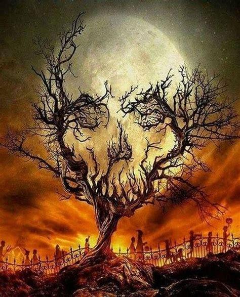 creepy moon tree  diamond painting kits oloee