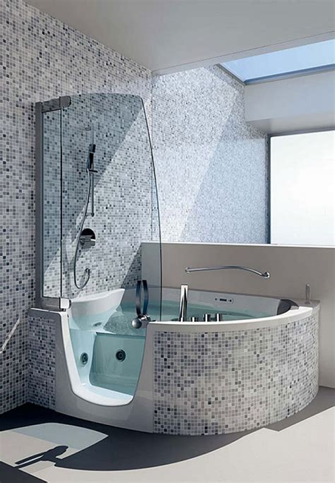 corner designs walk  bathtub  large space ideas