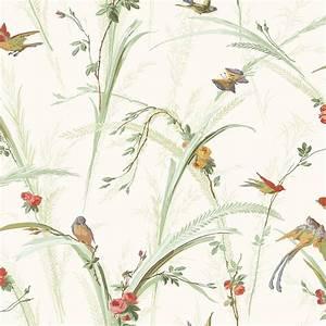 Brewster Doreen Green Botanical Wallpaper Sample