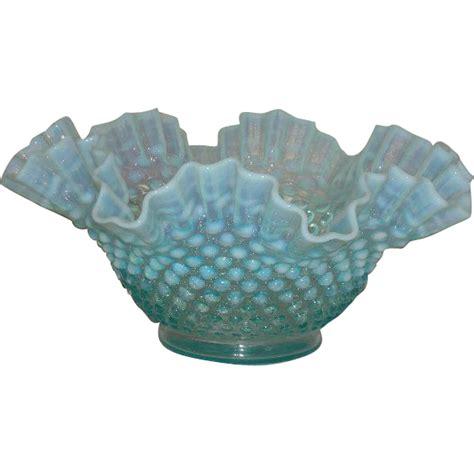 fenton blue l fenton blue opalescent 10 quot hobnail bowl from