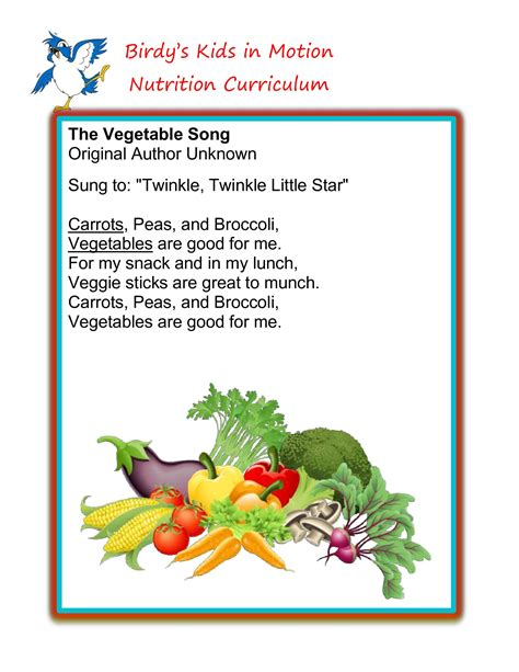 food songs for preschoolers quot the vegetable song quot birdyskidsinmotion nutrition 541