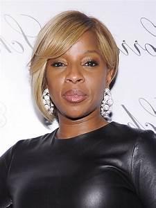 Mary J Blige Asymmetrical Bob Hairstyle For Black Women
