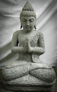 Statue Bouddha Interieur : statue de bouddha en pierre volcanique position pri re 80cm ~ Teatrodelosmanantiales.com Idées de Décoration
