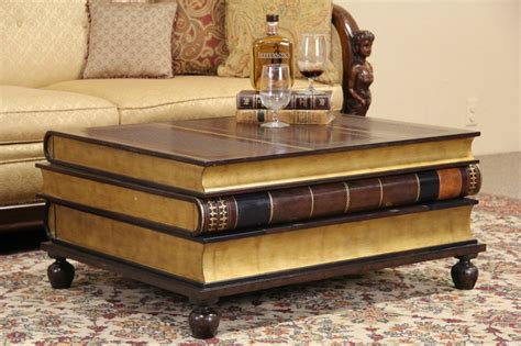 Maitland Smith Leather & Gold Leaf Book Coffee Or