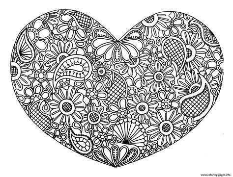adult heart mandala fleurs zen  coloring pages printable