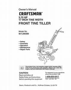Craftsman Tiller 917 292394 Owner S Manual