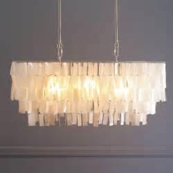 large rectangle hanging capiz chandelier white west elm