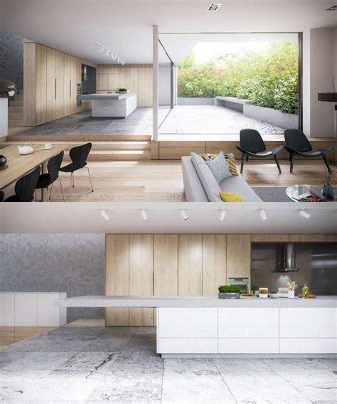 cuisine bois beton cuisine bois et blanc moderne 25 idées d aménagement