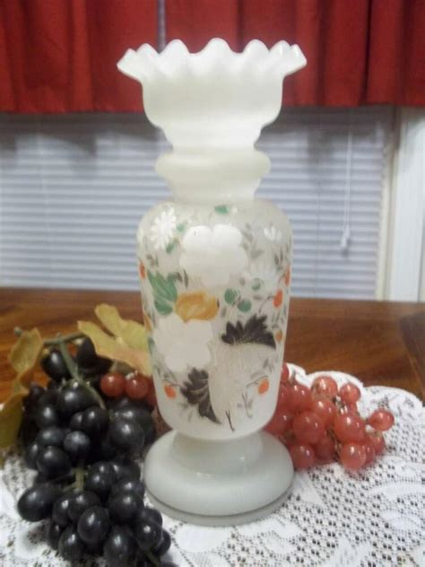 glass vase with top antique handpainted bristol glass vase ruffle top florals