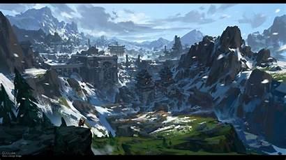 Artstation Mountain Snow Ruins Liulian Fantasy Concept