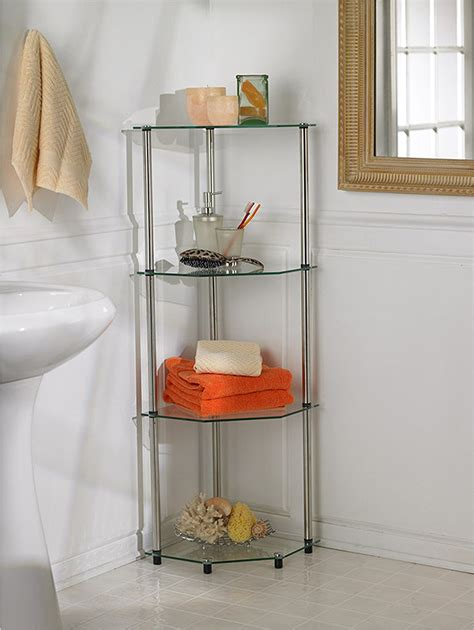 review  glass based bathroom corner shelves