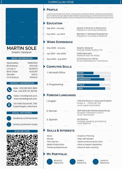 professional cv template for graphic designer include