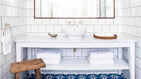 white and blue bathroom with blue mediterranean tiles