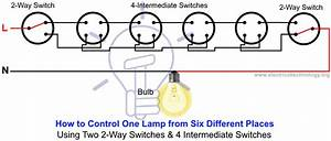 How To Control A Lamp Light Bulb From Two Places Using Wiring Diagram