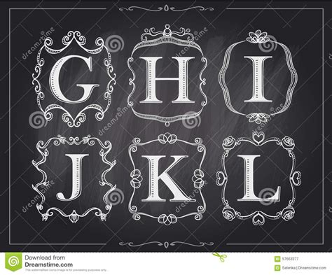 blackboard chalk vintage calligraphic letters  monogram retro frames alphabet logos stock