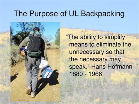 backpacking purpose ul ultralight gear ppt powerpoint presentation