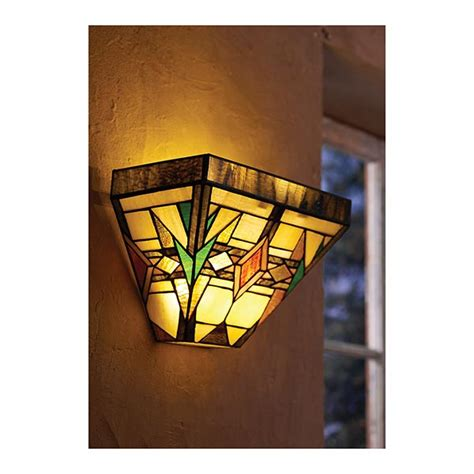 mission glass wall sconce in stained glass battery