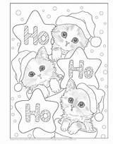 Coloring Christmas Pages Kitty Holiday Books Cat Kitten Santa Kayomi Colouring Adult Printable Sheets Helpers Cats Harai Kittens Teacup Kitties sketch template