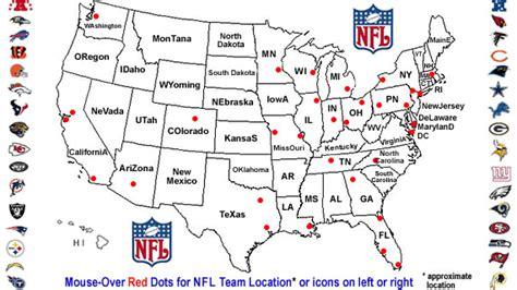 nfl team locations national football league  teams play