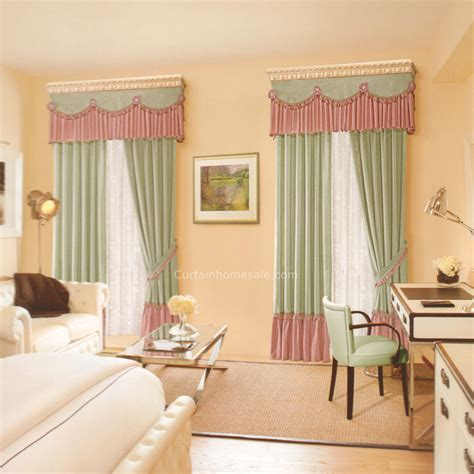 Bedroom Curtains With Valance by Pastoral Fresh Green Linen Clearance Curtains For Bedroom