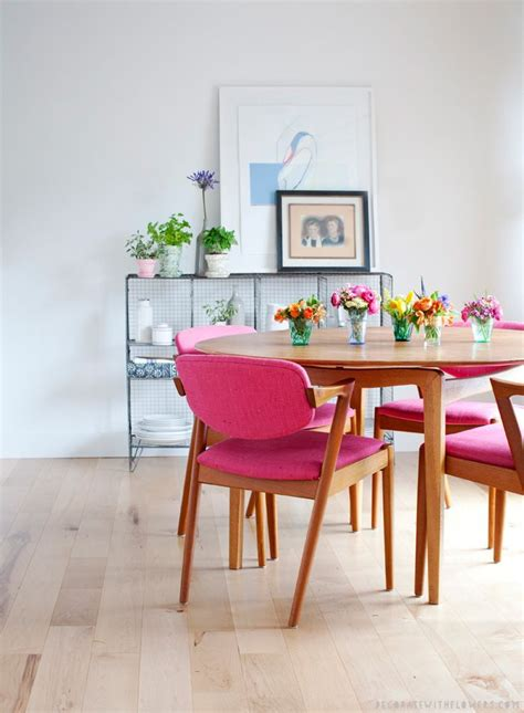 home inspiration brightly colored dining chairs