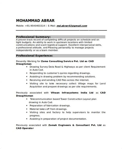 draftsman resume templates  word  document