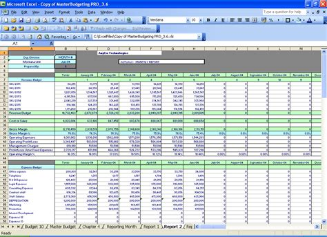 Budgeting Excel Spreadsheets  Divisional Profit