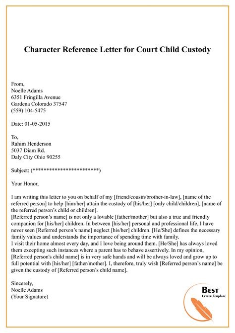 character reference letter  family court invitation