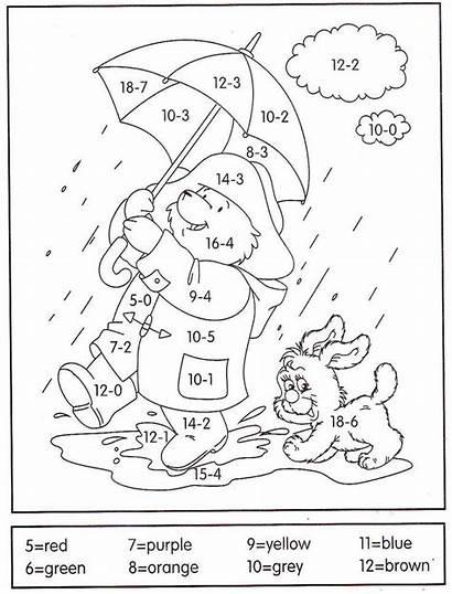 Coloring Math Worksheets Subtraction Grade 1st Number