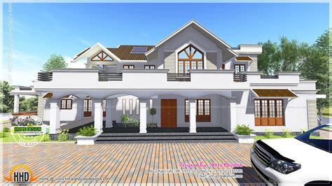 modern style sloped roof house 4000 sq ft home kerala plans