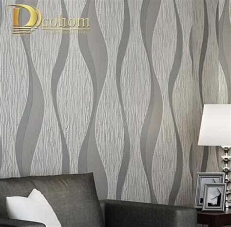 living room sofa white grey stripes wall paper  design