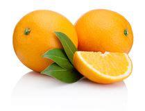 Wet Orange Fruit With Leaves Isolated White Stock Image